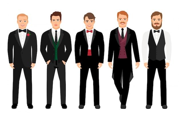 Mens in kostuum vastgestelde vectorillustratie. mode cartoon elegante zakelijke tekens geïsoleerd