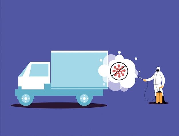 Mens in kostuums die voertuigen desinfecteren