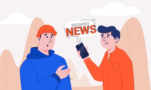 Mens in smartphone van de overhemdsholding met het breken van de bel die van de nieuwskennisgeving informatie delen aan geschokte en beklemtoonde kerel in hoodie en gebreide hoed. twee vrienden die recentste tijding bespreken die in park lopen.