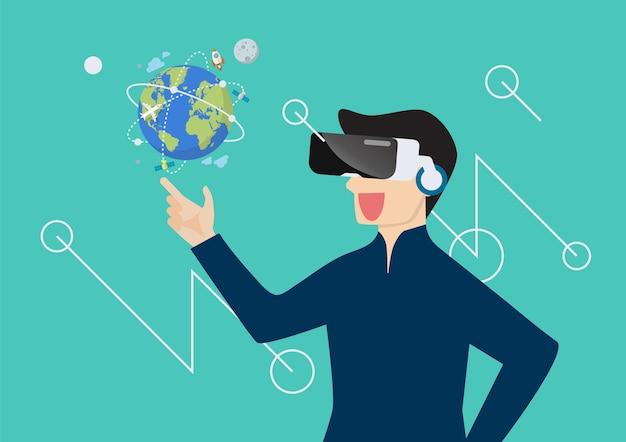 Mens in virtuele werkelijkheid