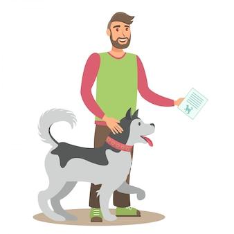 Mens met husky flat vector-kleurenillustratie
