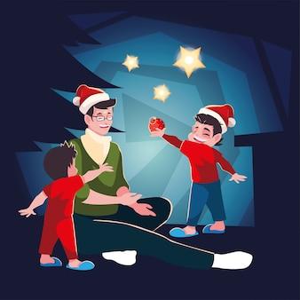 Mens met kinderen in de scène van de kerstmisavond