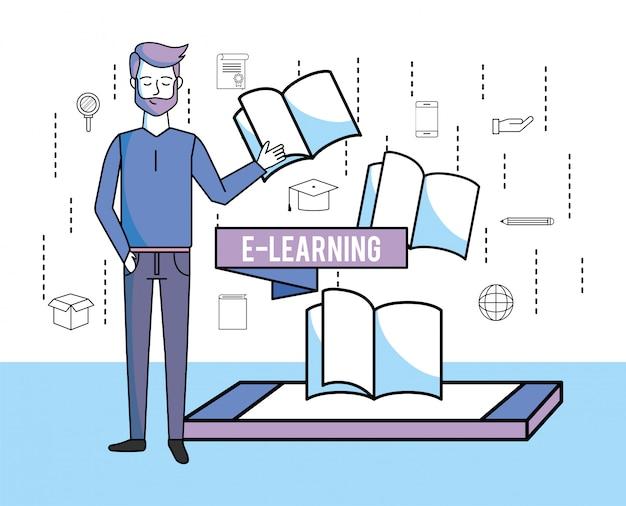 Mens met smartphonetechnologie en onderwijsboeken