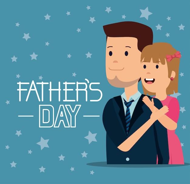 Mens met zijn dochter om vadersvakantie te vieren