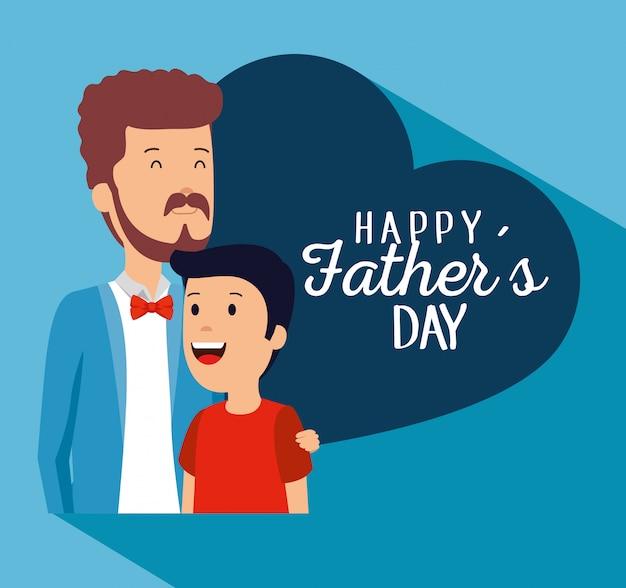 Mens met zijn jongen aan vaders dagviering