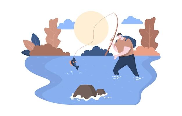 Mens rod fishing strike in de vlakke illustratie van de rivieraard