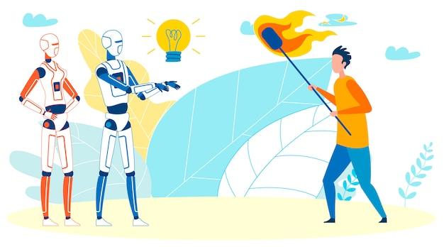 Mens tegen kunstmatige intelligentie vectorconcept