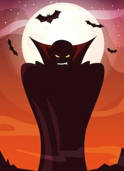 Mens vermomd van vampier in scène van halloween