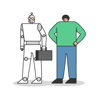 Mens versus robotarbeiders. professionele reputatie met robotconcurrent. carrière en kunstmatige intelligentie concept
