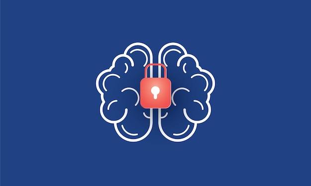 Menselijk brein met vergrendeld zakelijk probleem concept inspiratie business