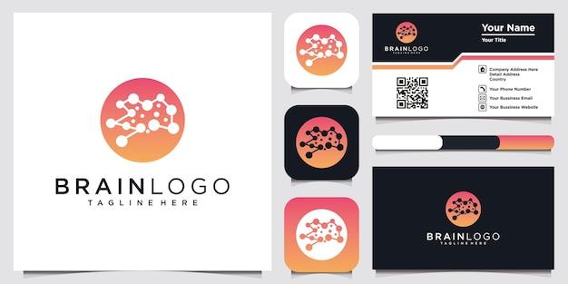 Menselijk brein pictogrammen illustratie logo en visitekaartje ontwerpsjabloon