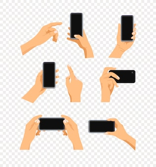 Menselijk gebaar met behulp van moderne smartphone set geïsoleerd op transparant