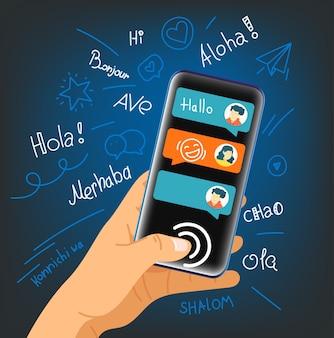 Menselijk gebaar met behulp van moderne smartphone
