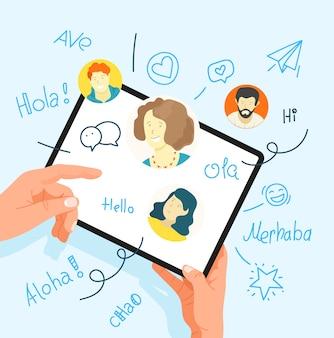 Menselijk gebaar met behulp van tabletcomputer