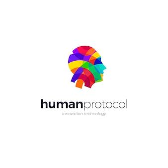 Menselijk gezicht technologie logo sjabloon