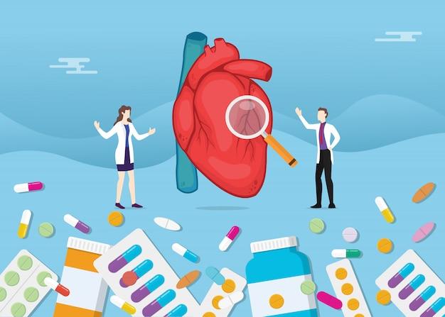 Menselijk hart geneeskunde gezondheid met pillen medicatie capsule behandeling