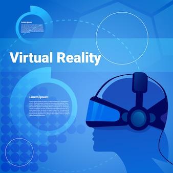 Menselijk hoofd die vr-achtergrond van de glazen de virtuele werkelijkheid met exemplaarruimte dragen