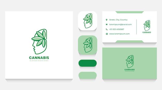 Menselijk hoofd en cannabis logo sjabloon en visitekaartje
