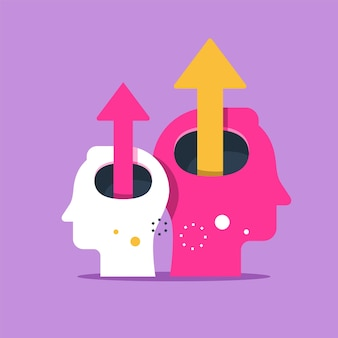 Menselijk hoofd en pijl omhoog illustratie