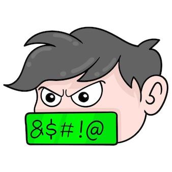 Menselijk hoofd jongen met boos gezicht is vloeken, vector illustratie karton emoticon. doodle pictogram tekening