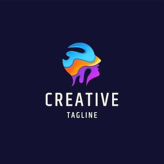 Menselijk hoofd kleurrijke gradiënt platte logo pictogram ontwerp sjabloon illustratie