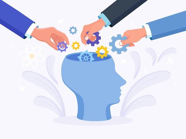 Menselijk hoofd met tandwielen binnen. mensen zetten er een tandwiel in. productiviteit, effectiviteit. intelligentie en kennisontwikkeling met hersenprestaties. versnellingen en technische wielen als gedachten