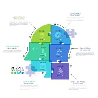 Menselijk hoofd of profiel verdeeld in 6 kleurrijke doorschijnende puzzelstukjes. concept van zes kenmerken van zakelijk denken. moderne infographic ontwerpsjabloon. creatieve vectorillustratie.