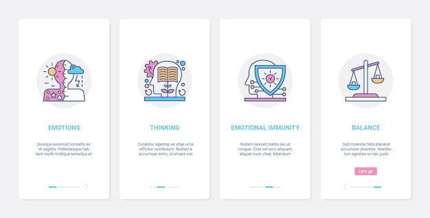 Menselijk hoofdprofiel emoties en denkbalans ux ui mobiele app-paginaschermset