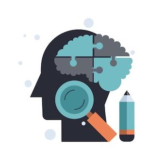 Menselijk hoofdsymbool met hersenpuzzel en vergrootglas