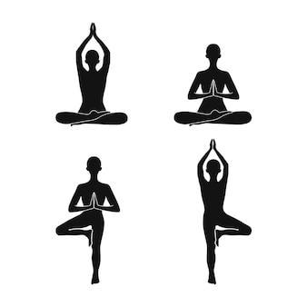 Menselijk icoon in yoga houdingen met handen namaste. balanceren van vector iconen voor web en design.