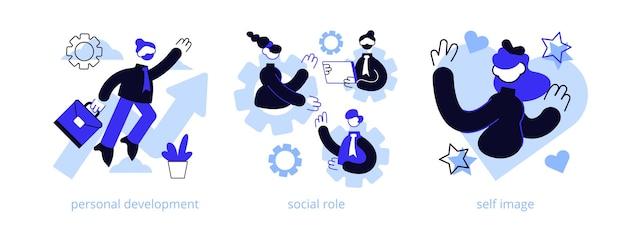 Menselijk kapitaal abstract concept illustratie set.