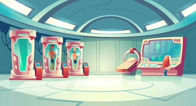 Menselijk klonen of dna-onderzoek in de cartoon van het geheime wetenschapslaboratorium