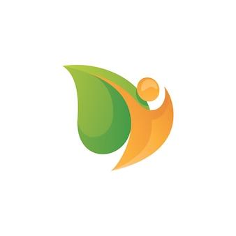 Menselijk lichaam en groen bladlogo