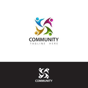 Menselijk sociaal, eenheid, samen, verbinding, relatie, sjabloonontwerp voor gemeenschapslogo