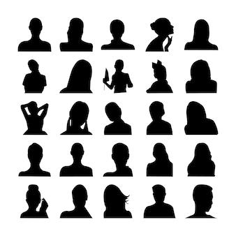 Menselijk stelt pictogram silhouetten
