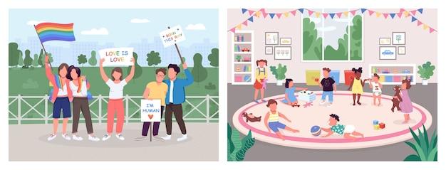 Menselijke activiteiten egale kleur illustratie set