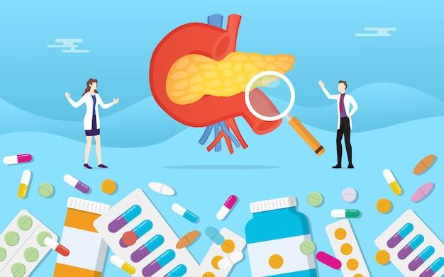 Menselijke alvleesklier geneeskunde gezondheid met pillen medicatie capsule behandeling