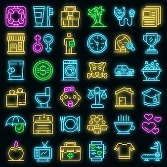Menselijke behoeften pictogrammen instellen vector neon
