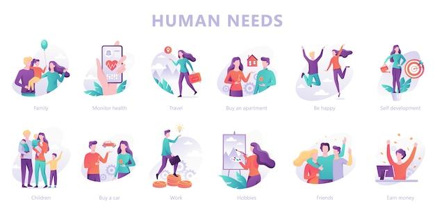 Menselijke behoeften vastgesteld. persoonlijke ontwikkeling en eigenwaarde