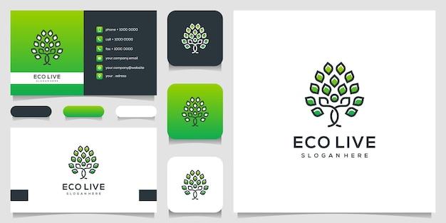 Menselijke boomgrens kunst stijl logo pictogram illustratie en visitekaartje