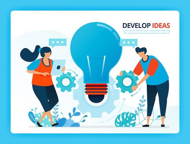 Menselijke cartoon illustratie voor het ontwikkelen van ideeën en samenwerking.
