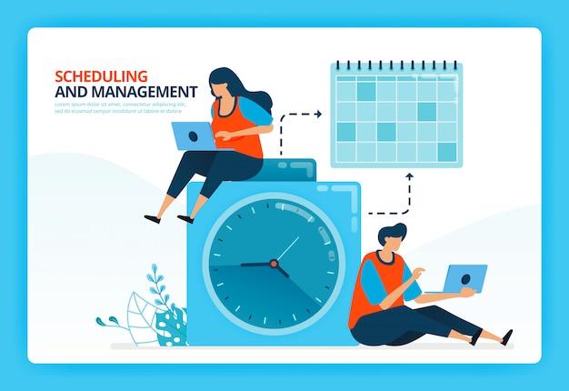 Menselijke cartoon illustratie voor tijdplanning en planning beheer.