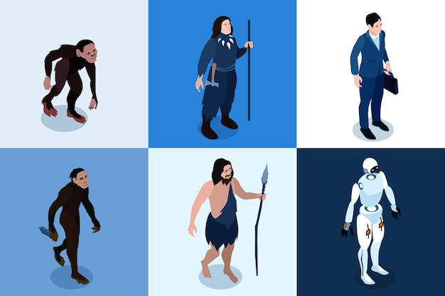 Menselijke evolutie isometrische vierkante pictogrammen instellen van aap primaat tot hi-tech robotachtige karakter cartoon afbeelding