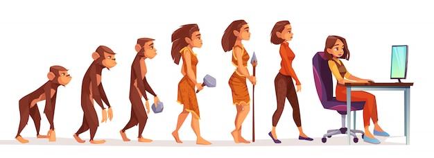 Menselijke evolutie van aap naar freelancer vrouw