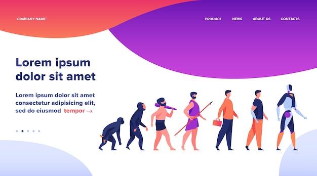 Menselijke evolutie van aap tot cyborg. primaat, voorouder, holbewoner, homo sapience, gehandicapte man met prothese, robot. vectorillustratie voor antropologie, geschiedenis, ontwikkelingsconcept