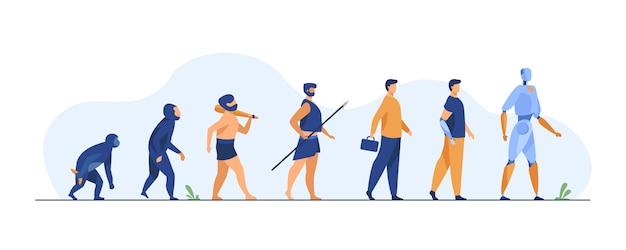 Menselijke evolutie van aap tot cyborg