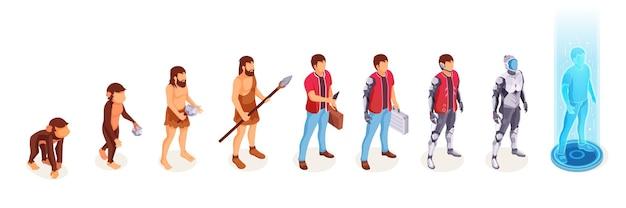Menselijke evolutie van de mens van aap aap naar digitale wereld technologie leven ontwikkelingsproces
