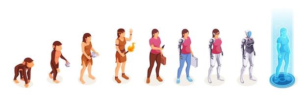 Menselijke evolutie van de vrouw van aap tot digitale technologiewereldrobot en cyborgtechnologie