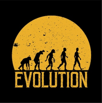 Menselijke evolutie vector wandelen volle maan achtergrond