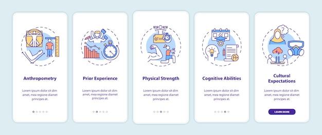 Menselijke factoren in ergonomie onboarding mobiele app-paginascherm met concepten